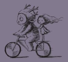 Girl and a monster on a bike Kids Clothes