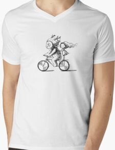 Girl and a monster on a bike Mens V-Neck T-Shirt