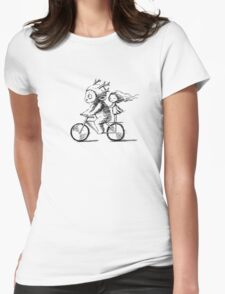 Girl and a monster on a bike Womens Fitted T-Shirt