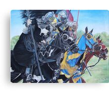 jousting Knights on horses historic realist art  Canvas Print