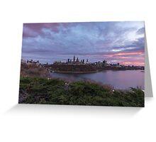 City landscape at sundown Greeting Card