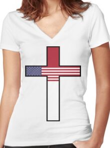 Olympic Countries - United States Of America Women's Fitted V-Neck T-Shirt