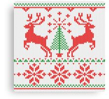 Holidays White Knit Ugly Christmas Sweater Ho Deer Canvas Print