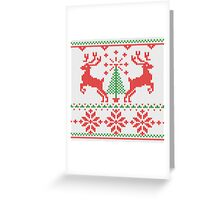 Holidays White Knit Ugly Christmas Sweater Ho Deer Greeting Card