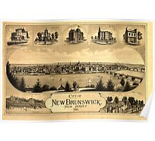 Panoramic Maps City of New Brunswick New Jersey  Packard  Butler Lith Philada Poster