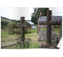 Stone Crosses in Cemetery Poster