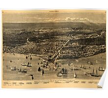 Panoramic Maps Bird's-eye-view of Chicago as it was before the great fire Poster
