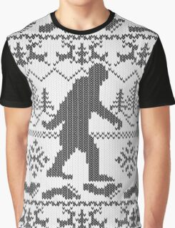 Gone Squatchin Ugly Christmas Sweater Knit Style Graphic T-Shirt