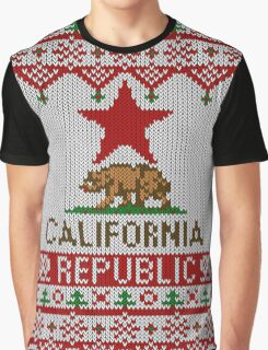 California Republic Bear on Christmas Ugly Sweater Graphic T-Shirt