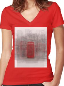 London Phone Booth Women's Fitted V-Neck T-Shirt