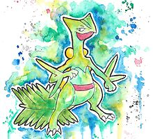 Epic Sceptile Watercolor Tshirts + More! ' Pokemon ' Jonny2may by Jonny2may