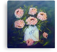 Shell Vase and Roses Canvas Print