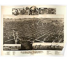Panoramic Maps Bird's eye view of Kalamazoo Mich 1883 Poster
