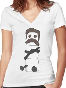 Marshmallow Ron Women's Fitted V-Neck T-Shirt