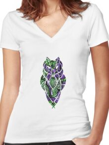 Owl Mosaic Green / Purple  Women's Fitted V-Neck T-Shirt