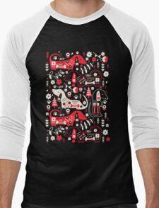 Dog Folk In Black/ Red Men's Baseball ¾ T-Shirt