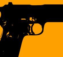 Pistol Shooter Yellow Diamond Warning Sign Sticker