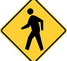 Pedestrian Crossing Yellow Diamond Warning Sign by ukedward