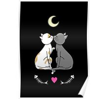 Cats in love kawaii Poster