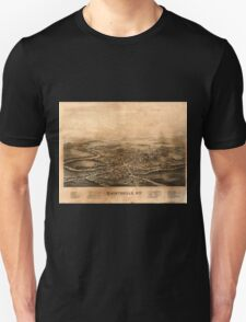 Panoramic Maps Shortsville NY Unisex T-Shirt