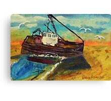Stranded at low tide, watercolor Canvas Print