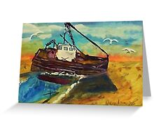 Stranded at low tide, watercolor Greeting Card