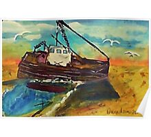 Stranded at low tide, watercolor Poster