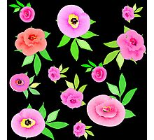 WaterColor Roses in Pinks with Green Leaves Photographic Print