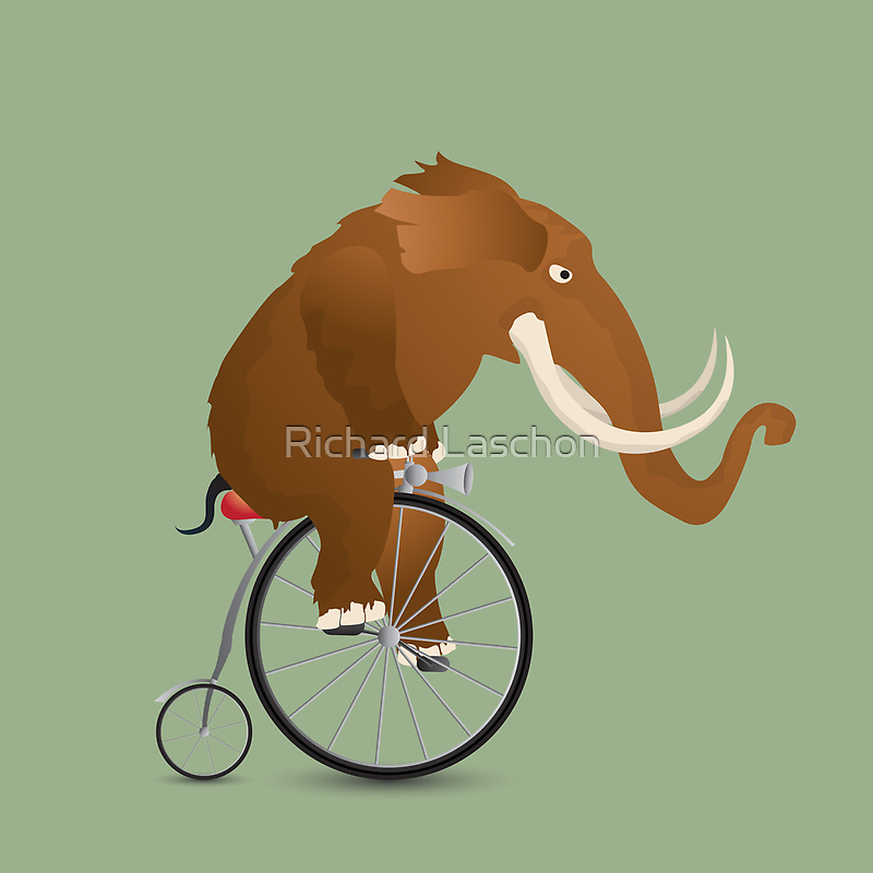 Mammoth on a bicycle by Richard Laschon