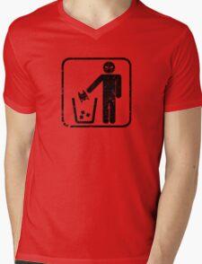 Keep Gotham Clean - Black Distressed Mens V-Neck T-Shirt