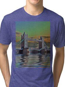 Solarised Tower Bridge Tri-blend T-Shirt