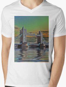 Solarised Tower Bridge Mens V-Neck T-Shirt