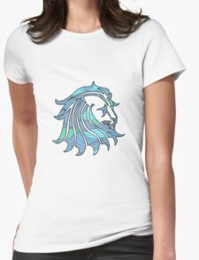 Lion Stripes Blue / Green  Womens Fitted T-Shirt