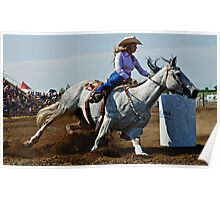 Barrel Racer Cutting It Tight Poster
