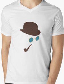 Sherlock Holmes Hat, Smoking Pipe and Sunglasses Mens V-Neck T-Shirt