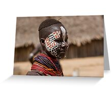 Karo tribe female with painted face. Omo Valley, Ethiopia Greeting Card