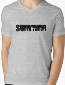 Survivor - Black Ink Mens V-Neck T-Shirt
