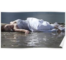 Laying on Wet Beach Poster