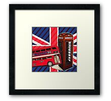 union jack london bus vintage red telephone booth Framed Print