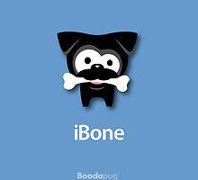 Black Pug iBone iPhone and iPod Cases (blue) by boodapug