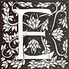 William Morris Inspired Letter E  by Donna Huntriss