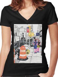 orange drum Women's Fitted V-Neck T-Shirt