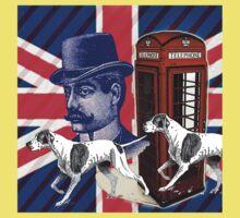vintage mustache men british hunt dog Union jack One Piece - Short Sleeve