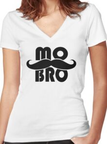 MO BRO for Mustached Gentlemen ~ MOVEMBER Women's Fitted V-Neck T-Shirt