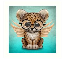 Cute Leopard Cub with Fairy Wings Wearing Glasses Blue Art Print