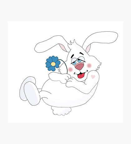 Funny Bunny Love Photographic Print