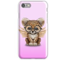 Cute Leopard Cub with Fairy Wings Wearing Glasses Pink iPhone Case/Skin
