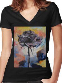 Black Rose Women's Fitted V-Neck T-Shirt