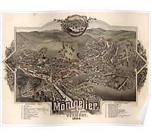 Panoramic Maps Montpelier county seat of Washington County  capital of Vermont  1884 Poster