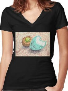 robin's egg with acorn cap Women's Fitted V-Neck T-Shirt